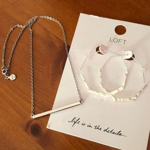 LOFT hammered earrings and bar necklace